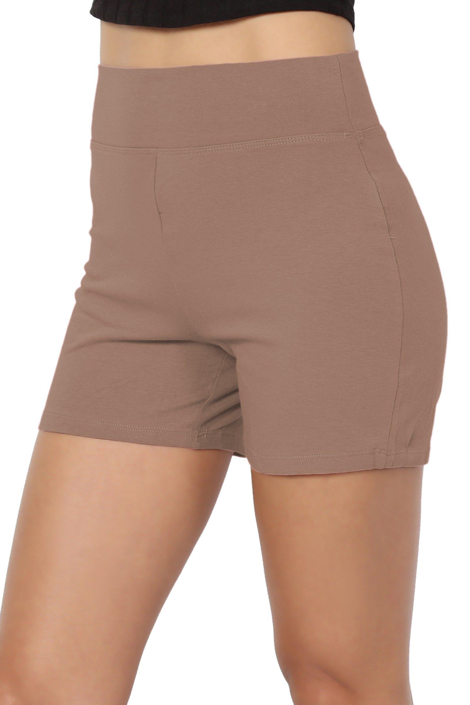27ddee0df72d4e TheMogan Women's Cotton Span High Waist Under Short Yoga Leggings Mocha 3XL