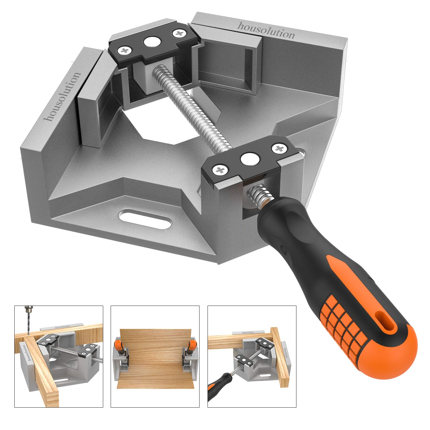 Right Angle Clamp, Housolution Single Handle 90° Aluminum Alloy Corner Clamp, Right Angle Clip Clamp Tool Woodworking Photo Frame Vise Holder with Adjustable Swing Jaw - Black Housolution Single Handle 90° Aluminum Alloy Corner Clamp