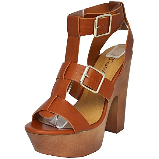 81d0c19741e Image Unavailable. Image not available for. Color  Breckelles Women   Renee-21 Open Toe Strappy Buckle Platform Chunky Heel Sandal