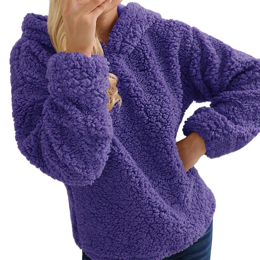 Shusuen 2019 Women's Winter Sweatshirt Faux Shearling Shaggy Warm Pullover Pockets Tops Hoodie Purple by Shusuen_Clothes