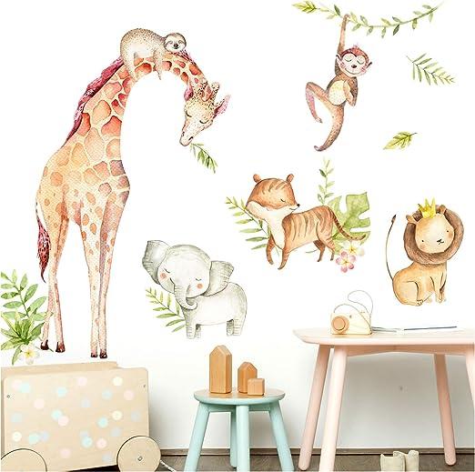 103 X 56 Cm I Elefant Giraffe Faultier Wandsticker Babyzimmer Junge Wandtattoo Kinderzimmer Dl472 Bxh Little Deco Wandaufkleber Tiere Lowe Mit Krone I M Wanddekoration Wandsticker Wandfiguren