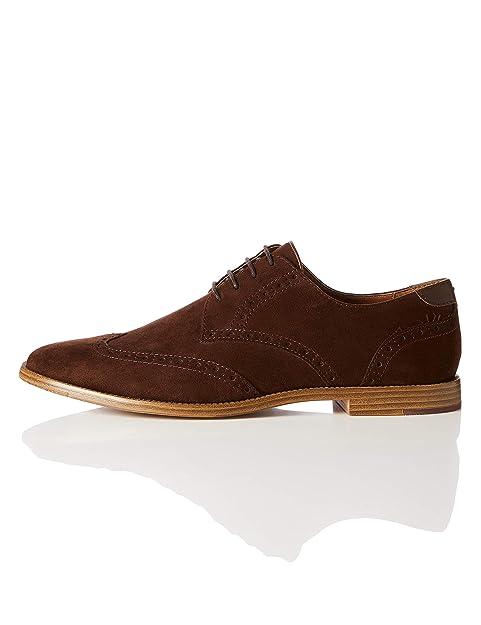 check out 4d5b9 dfe99 Amazon-Marke: find. Derby Schuhe Herren Brogue-Design und raues Kunstleder