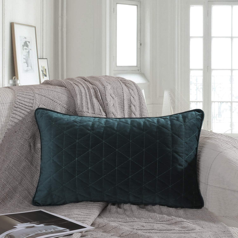 Ashler Soft Velvet Decorative Soft Square Throw Pillow Cover for Home Decor Sofa Blue,12 x 20 inch