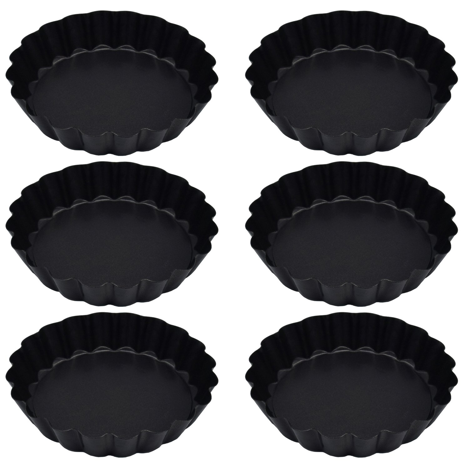 Richohome 4 Inch Quiche Pans Non Stick Removable Loose Bottom Mini Tart Pans, Pie Pan-Pack of 6 by Richohome