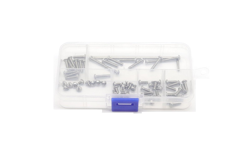 M3x4mm// 6mm// 8mm// 10mm// 12mm// 16mm Tamper Proof Screws T10 Screws,binifiMux 50pcs M3 Button Head Torx Security Screws Assortment Kit w T10 Wrench Stainless Steel