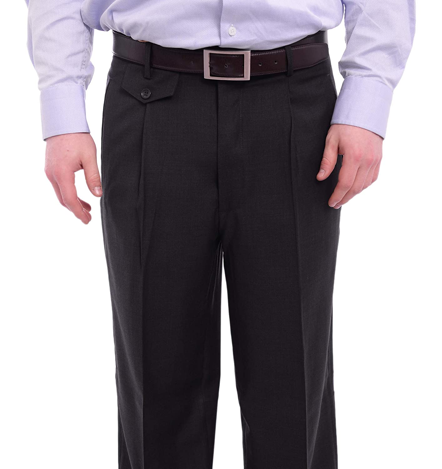 Apollo King Classic Fit Solid Charcoal Single Pleated Wide Leg Wool Dress Pants