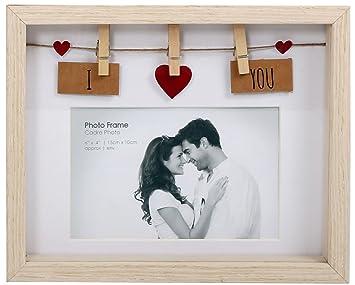 Wäscheleine-Fotorahmen aus Holz mit Klammern für 6x4 Foto, holz, I Love You