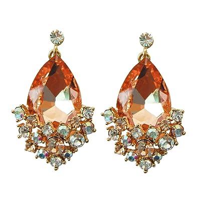 Navachi 18k Gold Plated Crystal Leaves Pear-shaped Zirconia Drop Ear stud Earrings qPwlOC
