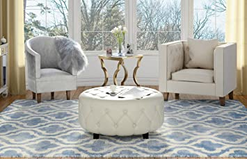 Awe Inspiring Amazon Com Tufted Round Leather Ottoman Large White Andrewgaddart Wooden Chair Designs For Living Room Andrewgaddartcom