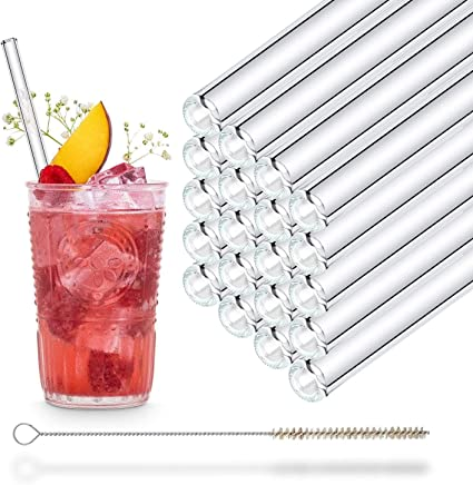 25 x verre Trinkhalm Paille Boissons Paille Réutilisable Lavable 10x230 mm