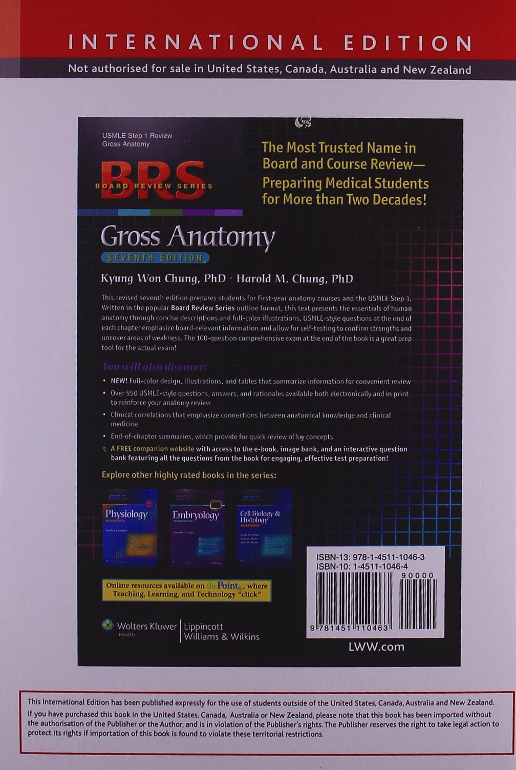 Brs Gross Anatomy Board Review Series Amazon Kyung Won