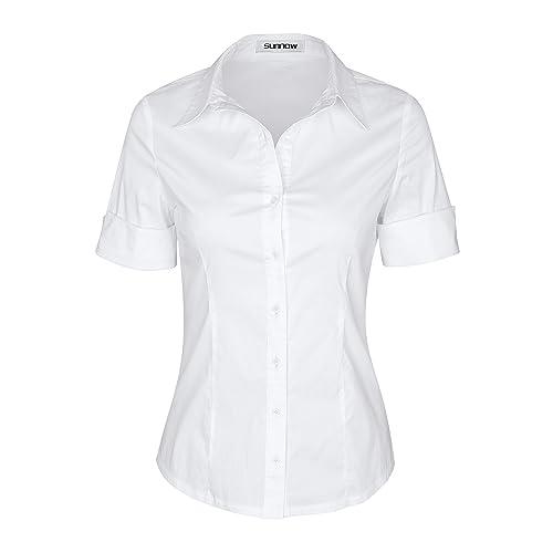 SUNNOW Mujer Verano Mangas Cortas Blusa Suelta de Color Sólido Traje de Trabajo con Cuello