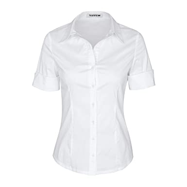 540ca4cf667 SUNNOW Womens Tailored Short Sleeve Basic Simple Button-Down Shirt with  Stretch (S