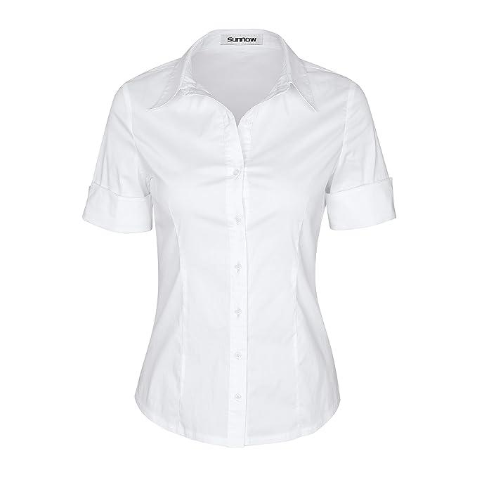 SUNNOW Mujer Verano Mangas Cortas Blusa Suelta de Color sólido Traje de Trabajo con Cuello (