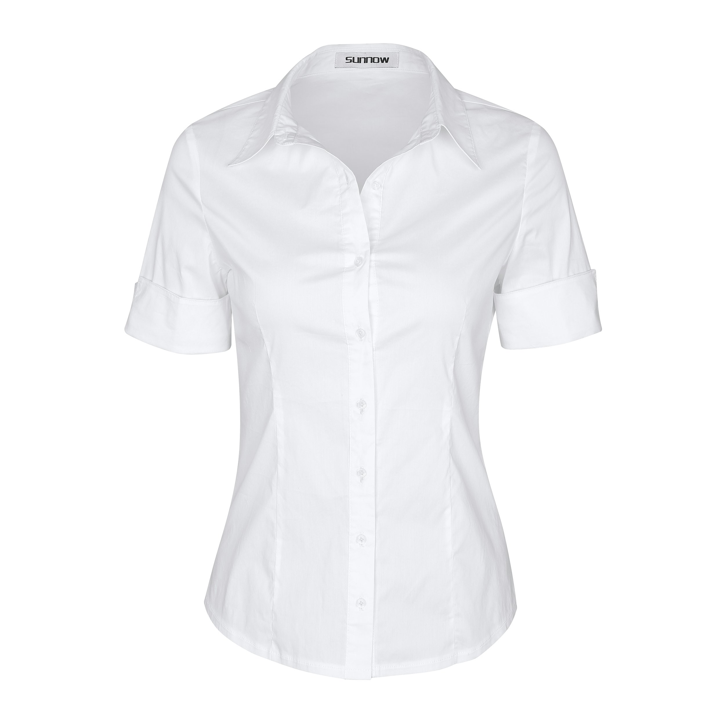 SUNNOW Womens Tailored Short Sleeve Basic Simple Button-Down Shirt with Stretch (L, White)