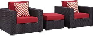 Modway Convene Wicker Rattan 3-Piece Outdoor Patio Furniture Set in Espresso Red