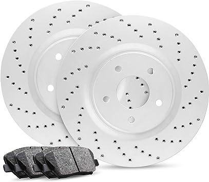 Full Kit R1 Carbon GEOMET Series Cross-Drilled Brake Rotors Disc /& Ceramic Pads