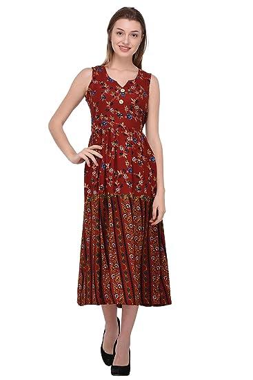 b20c49066 Trendif Women's Maroon Moss Print Dress (3246): Amazon.in: Clothing &  Accessories