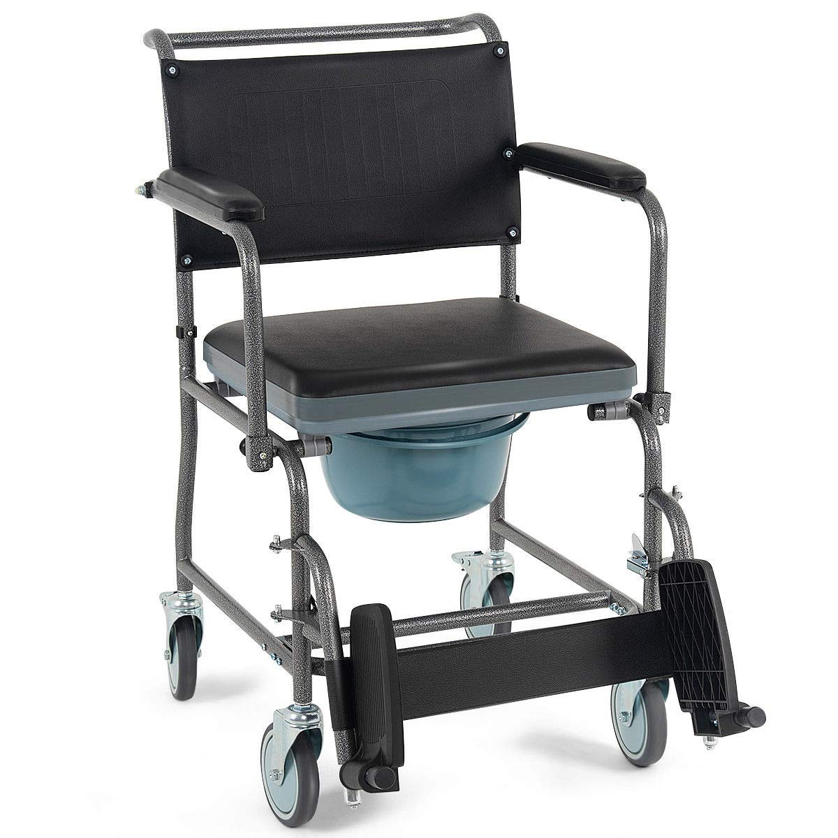 Giantex Medical Transport Toilet Commode Bathroom Wheelchair Bedside Locking Casters Patient Commode Wheel Chair Over Toilet (Black) by Giantex