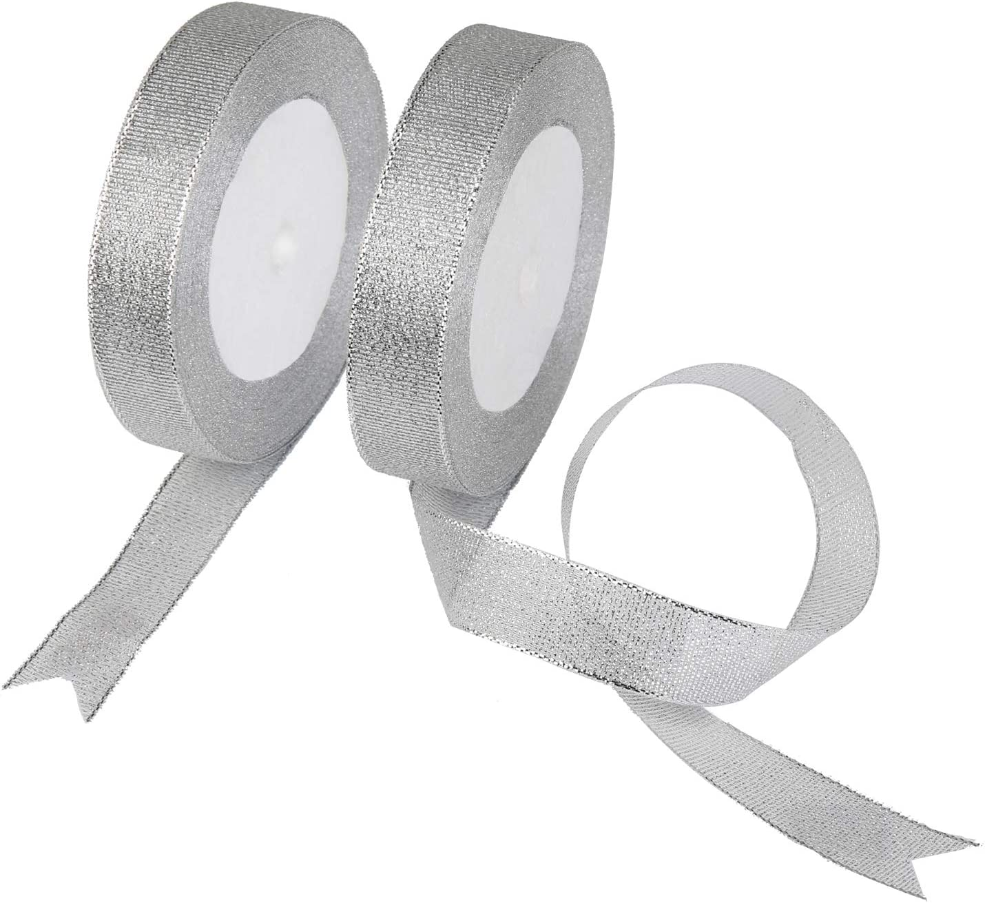 SALE 5 x Rolls Sparkly Finish Silver Christmas Parcel Ribbon Good Quality
