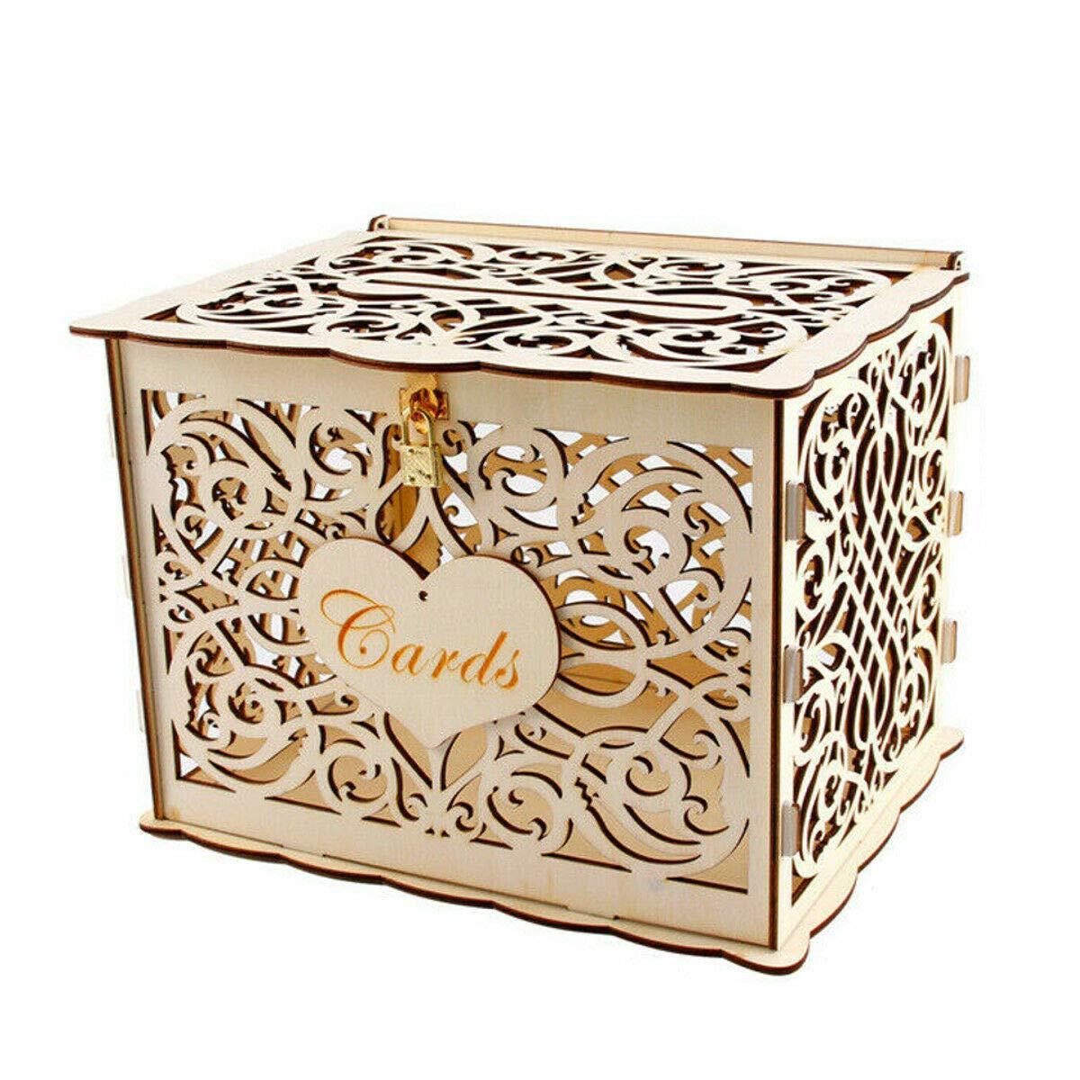 NITCHA14 Wooden Card Box with Lock Rustic Wedding Card Storage Box Gift Card Holder Box