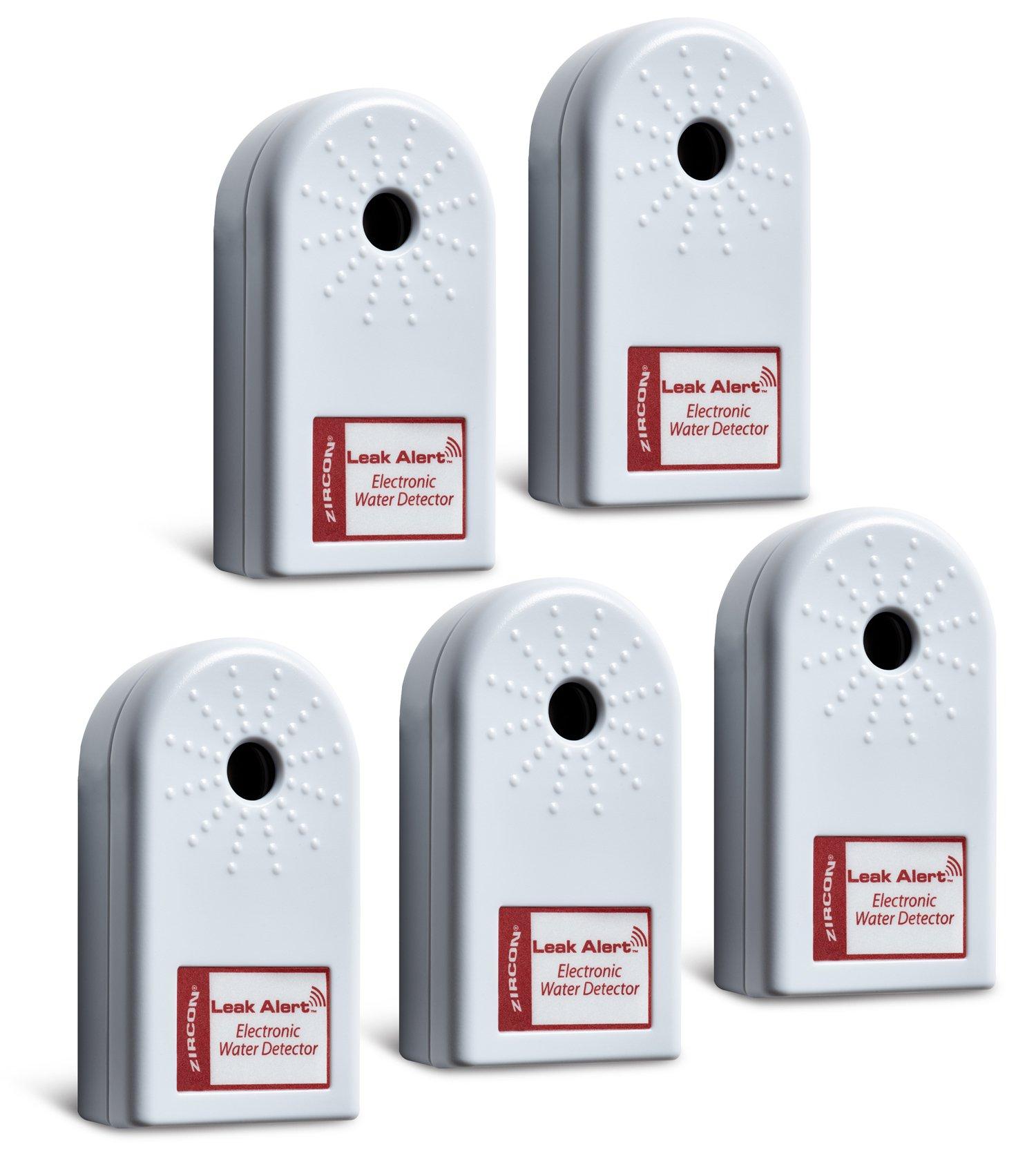 ZirconLeakAlertWaterLeakDetector & Flood Sensor Alarm / WaterLeakSensor with DualLeakAlarms 90dB Audio / Battery Powered (5 Pack) Batteries Included by Zircon