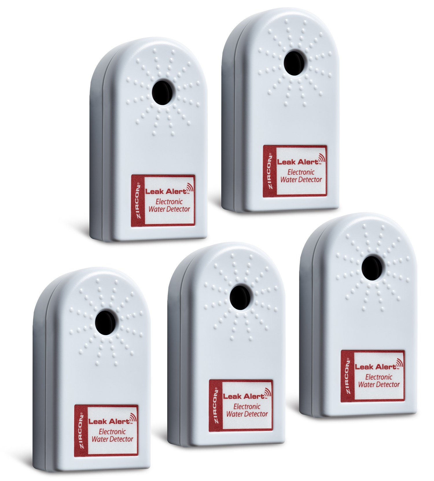 Zircon Leak Alert Home Pack - Electronic Water Detector with Audio Alarm (5 Pack) - Batteries Included - FFP
