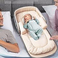 Aik@ Portable Pliable Bébé Lits D'enfant Co-dodos,Nid De Bébé Lit De Voyage 100% Coton Hypoallergénique Respirant Approprié Pour 0-1 An Bébé