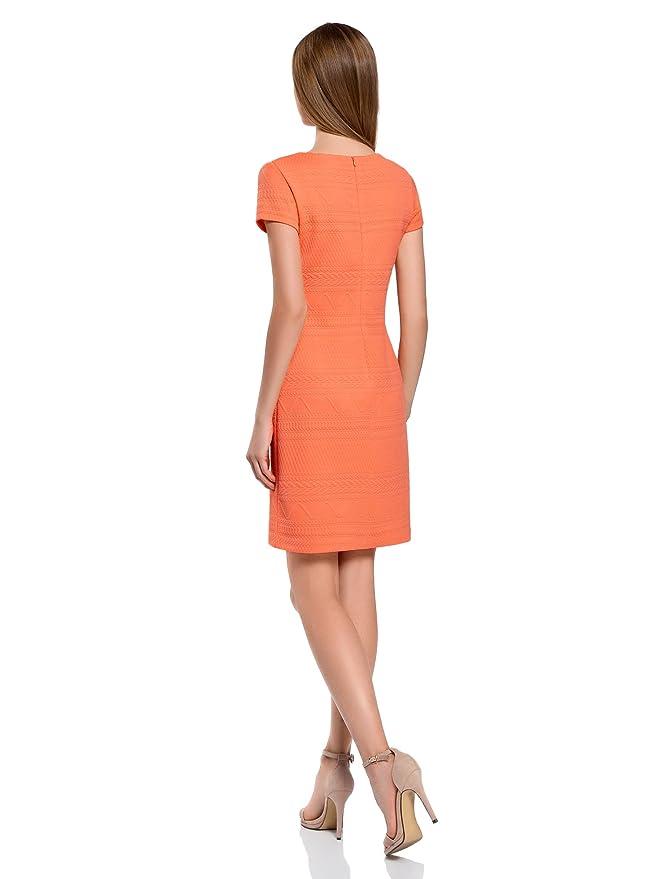 4811684998e oodji Collection Femme Robe en Tissu Texturé avec Col en V  Amazon.fr   Vêtements et accessoires