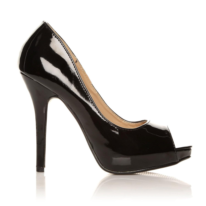 5652eac8fe3 TIA Black Patent PU Leather Stiletto Very High Heel Platform Peep Toe Shoes
