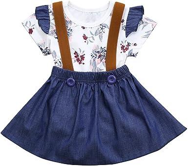 Kids Baby Girl Summer Denim Strap Dress Jumpsuit Sunsuit Short Skirt Clothes Set