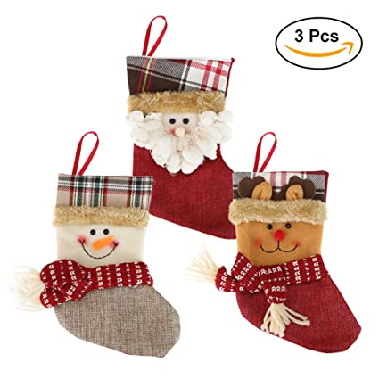 christmas stockings for kids set of 3 family christmas decorations and cute santa stocking