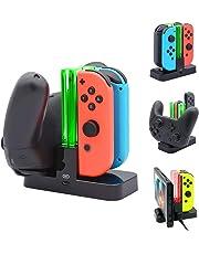 KOBWA Ladestation für Nintendo Switch, Ladestation für Nintendo Switch Controller Ladedock 6 in 1 Joy-Con Pro Controller Ladestation mit einzelnen LEDs Anzeige