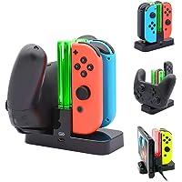 Alomia Nuevo Cargador para Controles de Nintendo Switch, Estación de soporte de carga para Switch Joy-con y Pro Controller con indicador de carga y cable de carga tipo C