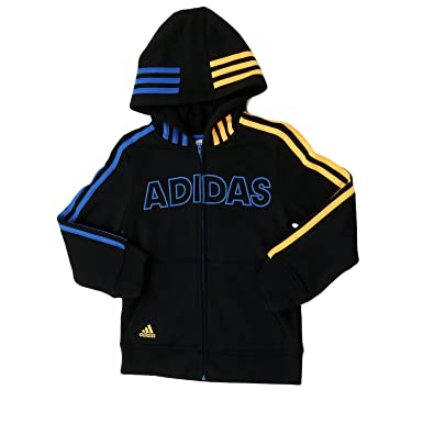 Amazon.com: Adidas Fast Fleece Jacket - Black/Blue - Boys - 5 ...