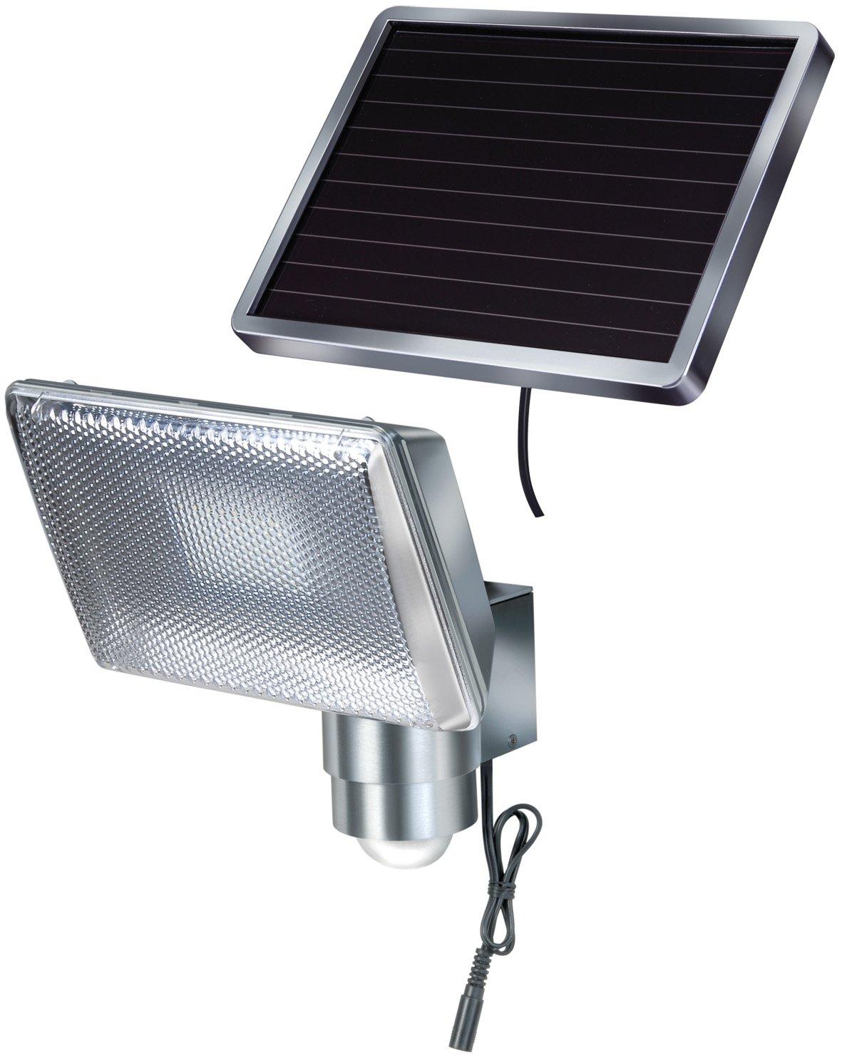 Brennenstuhl 1170840 Faretto solare a LED 350 lm SOL 80 IP44 per esterno, con segnalatore di movimento ad infrarossi 8xLED, cavo 4,75m colore ALLUMINIO A K (ed) McClure Hugo Brennenstuhl
