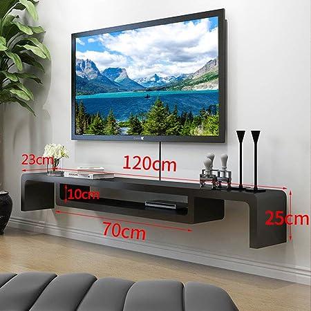 Decoración de pared De Fondo De Gabinete De TV Montado En La Pared Sala De Estar Apartamento Pequeño Decodificador De Pared Moderno Estante De Pared Minimalista (Color : Negro, Tamaño : 120cm):