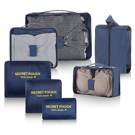 Newdora 7 en 1 Set de Organizador de Equipaje Viaje con Bolsa de Zapato,Impermeable Organizador de Maleta Bolsa para Ropa Sucia de Viaje, Material ...