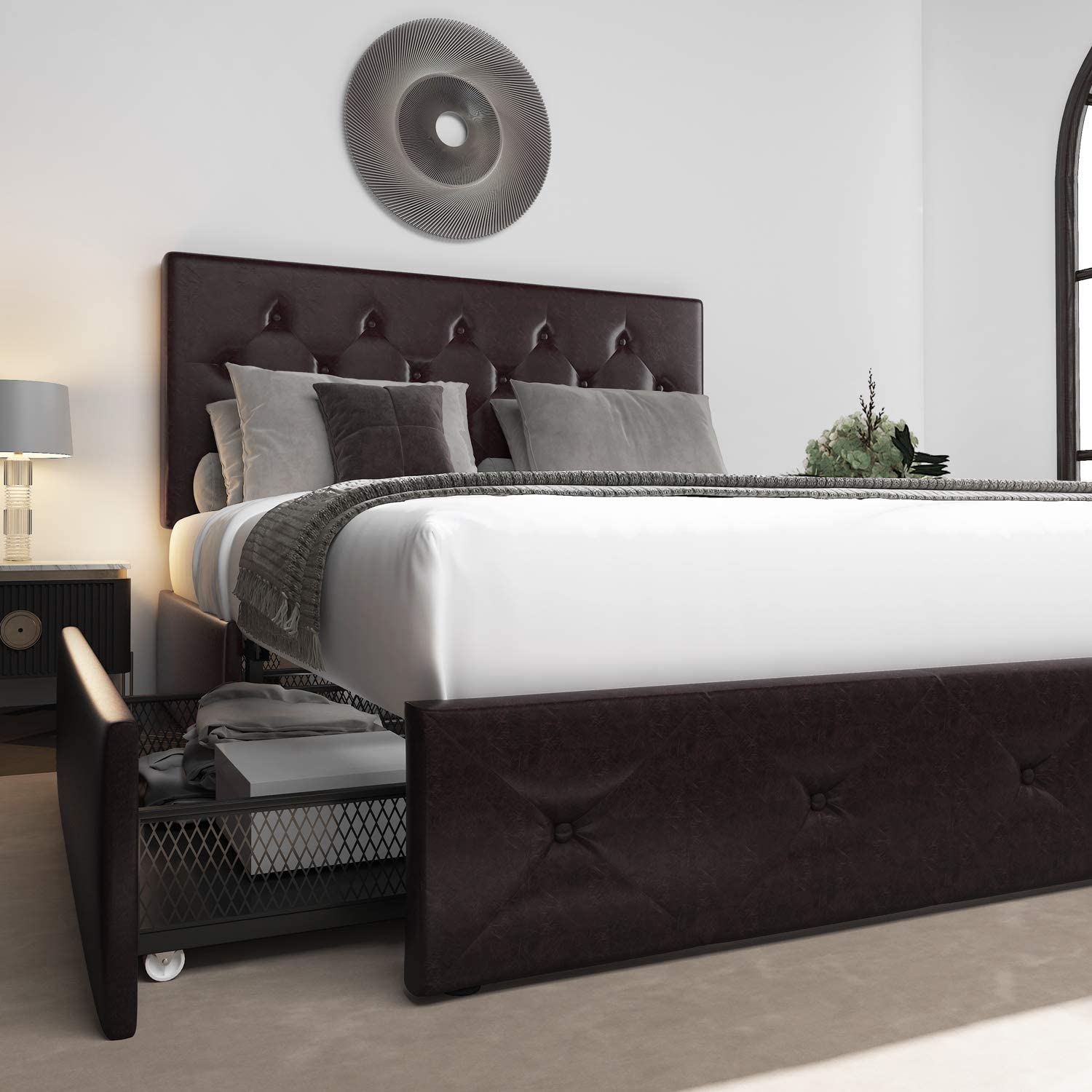 Allewie Queen Size Platform Bed Frame with 4 Drawers and Headboard, Diamond Stitched Button Tufted Faux Leather Upholstered Mattress Foundation with Storage, Black-Brown