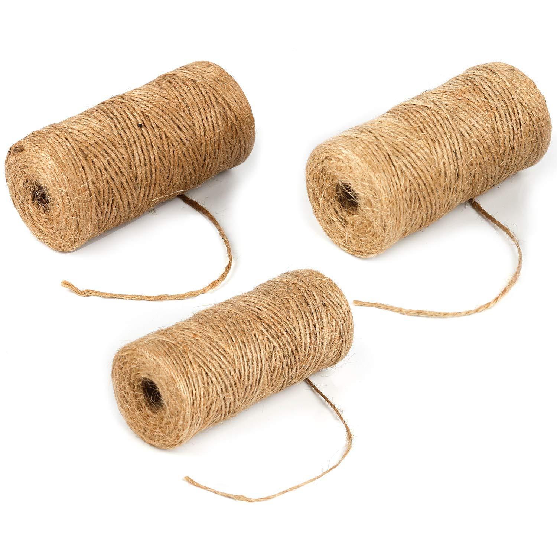 Gydandir 984 Pieds/300 metre Naturel Ficelle de jute biodé gradable é pais Cordon en jute Corde pour fleuristes, jardin, cadeaux, liasses, dé coration et DIY Crafts (Marron) décoration et DIY Crafts (Marron)