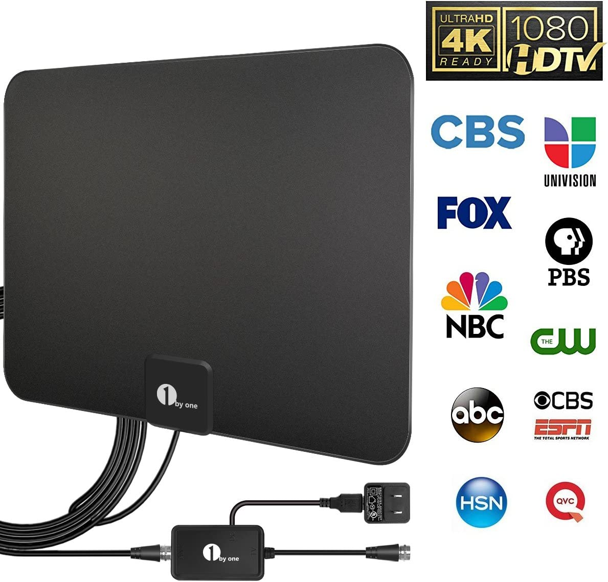 [Updated 2020] Ultra-Thin Amplified HD Digital TV Antenna Long 120 Miles Range-Support 4K HD VHF UHF Freeview Television Indoor Powerful HDTV Amplifier Signal Booster and Longer Coax Cable