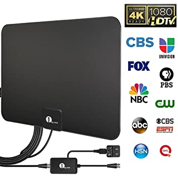... Indoor TV Antenna Upgraded 2018 Version, 50-80 Miles Long Range with Amplifier Signal Booster for 1080P 4K Free TV Channels, Amplified 10ft Coax Cable