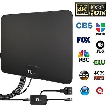 HDTV Antena, 1byone Super Fino HDTV Antena Digital para Interior – 25 Millas Range con