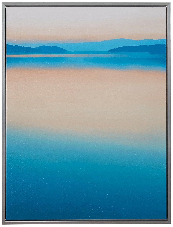Calm Paradise Horizon at Dawn Canvas, Silver Frame, 31.75'' x 41.75''
