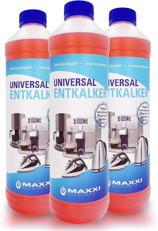 Maxxi Clean Poderoso Descalcificador eliminador de cal y limpiador multiusos | para limpieza de cafeteras automáticas, planchas, hervidor de agua y baño 3x750 ml | con indicador de color