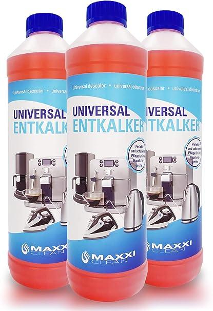 Maxxi Clean Poderoso Descalcificador eliminador de cal y limpiador multiusos | para limpieza de cafeteras automáticas, planchas, hervidor de agua y baño 3x750 ml | con indicador de color: Amazon.es: Salud y
