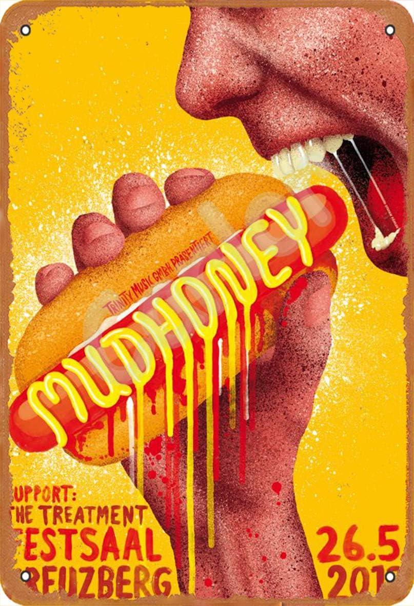 Carlor Mudhoney Hamburger Hot Dog Food Poster Chic Art Prints Advertising Painting Vintage Wall Decoration Metal Tin Sign 12 X 8
