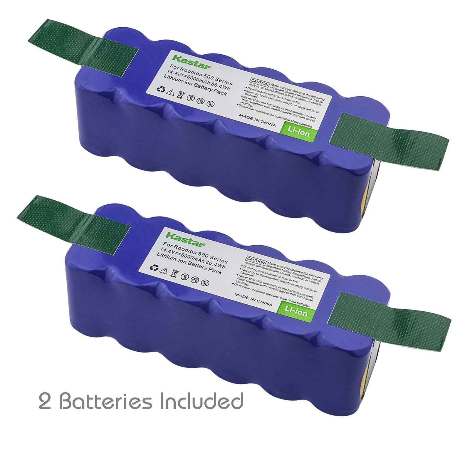 Kastar Lithium-ion Replacement Battery 14.4V 6000mAh 2 Pack for iRobot Roomba R3 500, 600, 700, 800 & 900 series 510 530 531 532 540 550 570 580 585 610 620 650 660 760 770 780 790 870 880 R3 4419696