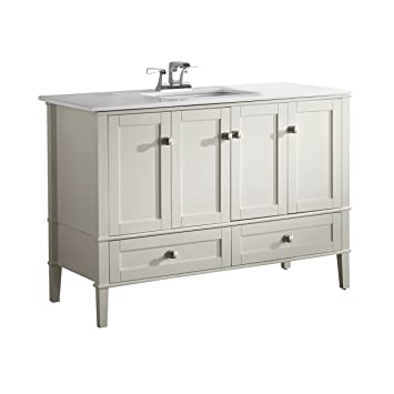 Simpli Home Chelsea 48u0026quot; Bath Vanity With White Quartz Marble Top, Soft  White