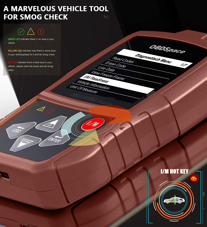 OBD 2 Lector OBDSPACE OS4100 esc/áner de diagn/óstico de auto OBD II profesional para comprobar la luz del motor lector de c/ódigos de diagn/óstico de fallos para todos los coches